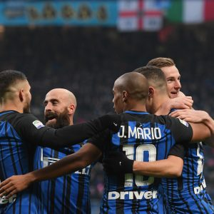 MILAN, ITALY - DECEMBER 03:  Ivan Perisic Of FC Internazionale (C) Celebrates After Scoring The Fifth Goal During The Serie A Match Between FC Internazionale And AC Chievo Verona At Stadio Giuseppe Meazza On December 3, 2017 In Milan, Italy.  (Photo By Claudio Villa - Inter/Inter Via Getty Images) *** Local Caption *** Ivan Perisic